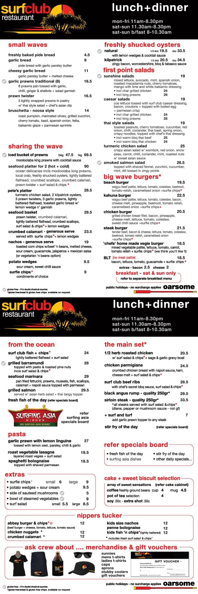 2018 10 02 Noosa Surf Club Menu Lunch And Dinner01