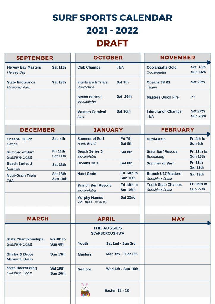 Surf Sports Calendar